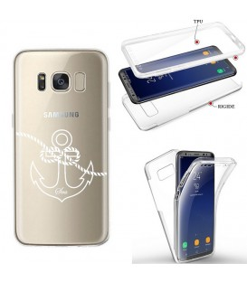 Coque Galaxy S8 PLUS integrale ancre blanc transparente