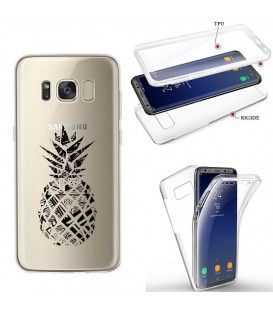Coque Galaxy S8 PLUS integrale ananas geometrique noir transparente