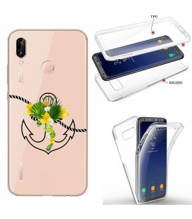 Coque P20 LITE integrale ancre fleur tropical transparente