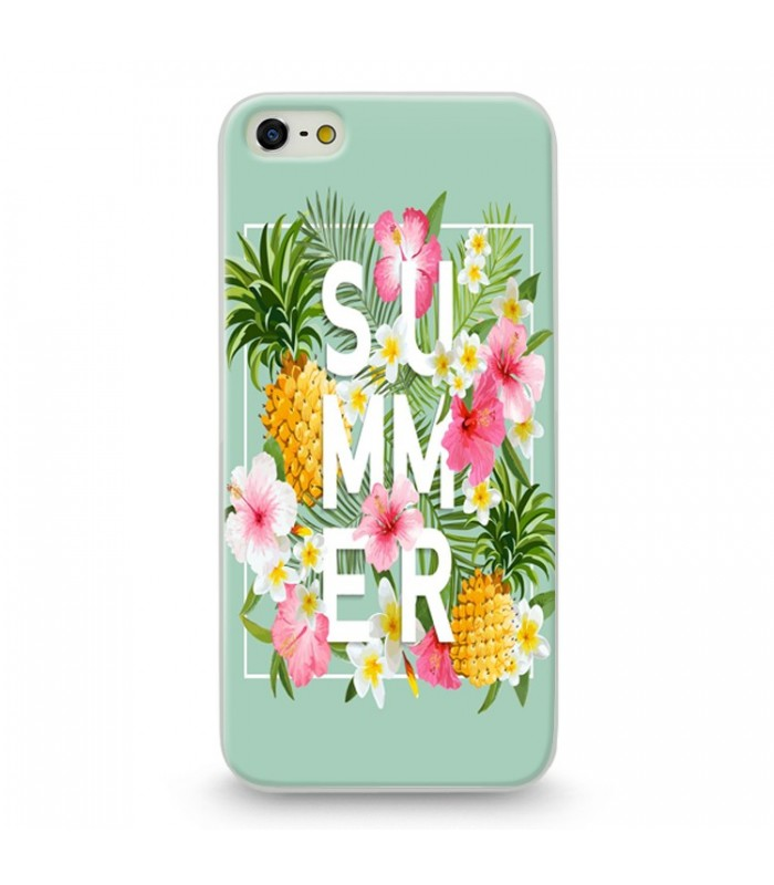 coque iphone 5 5s se summer ananas tropical jungle fleur rose