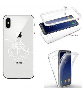 Coque Iphone X XS integrale ancre blanc transparente