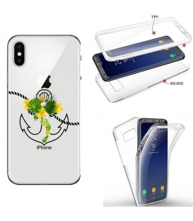 Coque Iphone X XS integrale ancre fleur tropical transparente