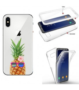 Coque Iphone X XS integrale ananas lunettes tropical fleur transparente