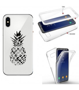 Coque Iphone X XS integrale ananas geometrique noir transparente
