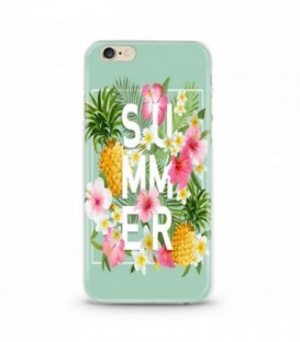 Coque iphone 6 6S Summer ananas tropical jungle fleur rose
