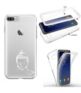 Coque Iphone 7 8 integrale bouddha blanc transparente