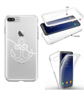 Coque Iphone 7 8 integrale ancre blanc transparente