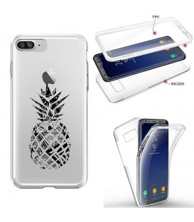 Coque Iphone 7 8 integrale ananas geometrique noir transparente