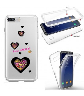 Coque Iphone 7 PLUS 8 PLUS integrale smiley coeur emojii transparente