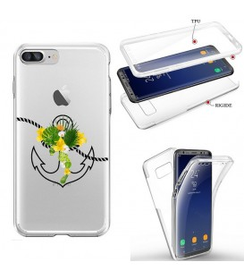 Coque Iphone 7 PLUS 8 PLUS integrale ancre fleur tropical transparente