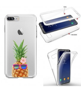 Coque Iphone 7 PLUS 8 PLUS integrale ananas lunettes tropical fleur transparente