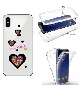 Coque Iphone XR integrale smiley coeur emojii transparente