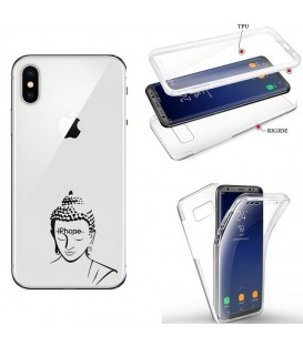 Coque Iphone XR integrale bouddha noir transparente