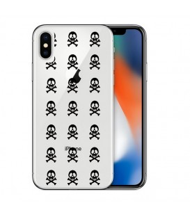 Coque Iphone X XS mort multi skull noir transparente