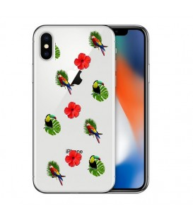 Coque Iphone X XS perroquet multi tropical fleur transparente