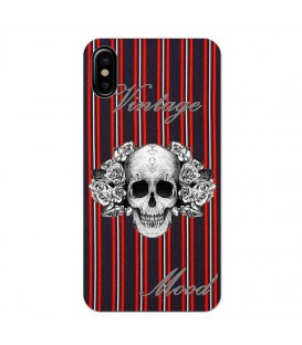 Coque Iphone XR tete mort raye vintage