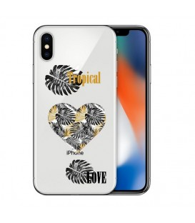 Coque Iphone XS MAX tropical love coeur transparente