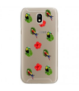 Coque Galaxy J3 2017 perroquet multi tropical fleur transparente