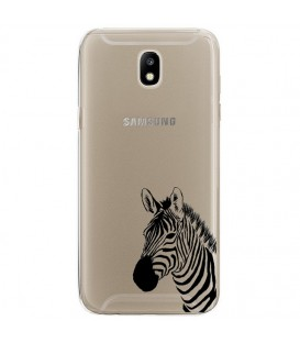 Coque Galaxy J5 2017 zebre wild jungle raye transparente