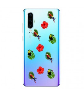Coque P30 perroquet multi tropical fleur transparente