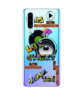 Coque P30 tag graffiti urban transparente