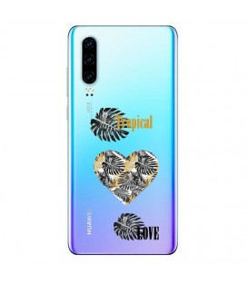 Coque P30 tropical love coeur transparente