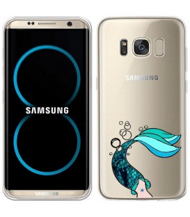 Coque Galaxy S8 sirene mermaid bleu transparente