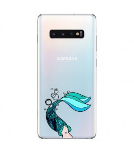 Coque Galaxy S10 sirene mermaid bleu transparente