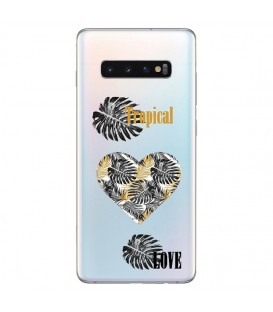 Coque Galaxy S10 tropical love coeur transparente