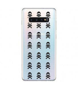 Coque Galaxy S10 PLUS mort multi skull noir transparente