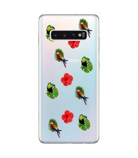Coque Galaxy S10 PLUS perroquet multi tropical fleur transparente