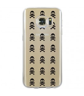 Coque Galaxy S7 EDGE mort multi skull noir transparente