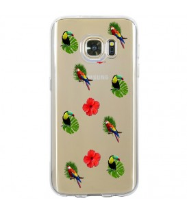 Coque Galaxy S7 EDGE perroquet multi tropical fleur transparente