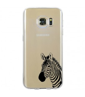 Coque Galaxy S7 EDGE zebre wild jungle raye transparente
