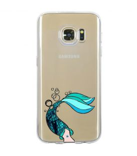 Coque Galaxy S7 sirene mermaid bleu transparente