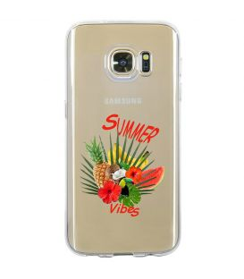 Coque Galaxy S7 summer vibes exotique fleur transparente