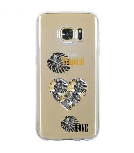 Coque Galaxy S7 tropical love coeur transparente