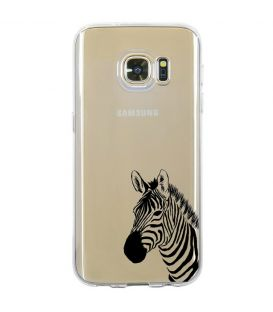 Coque Galaxy S7 zebre wild jungle raye transparente