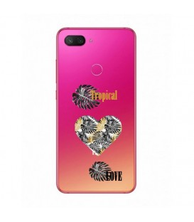 Coque MI 8 LITE tropical love coeur transparente