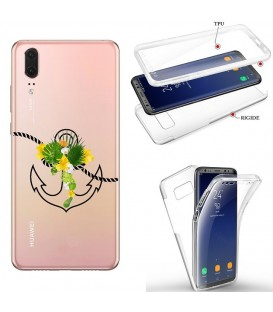 Coque P20 PRO integrale ancre fleur tropical transparente