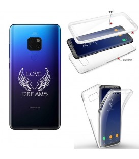 Coque MATE 20 integrale love dreams ailes blanc transparente