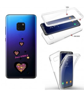 Coque MATE 20 integrale smiley coeur emojii transparente