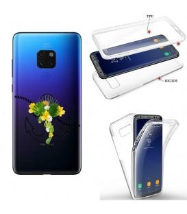 Coque MATE 20 integrale ancre fleur tropical transparente