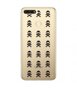 Coque P Smart 2018 mort multi skull noir transparente