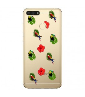 Coque P Smart 2018 perroquet multi tropical fleur transparente