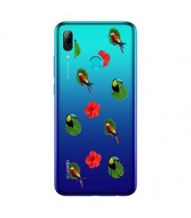 Coque P Smart 2019 perroquet multi tropical fleur transparente