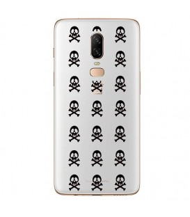 Coque ONE PLUS 6 mort multi skull noir transparente