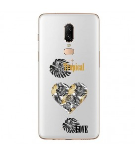 Coque ONE PLUS 6 tropical love coeur transparente