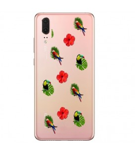 Coque P20 PRO perroquet multi tropical fleur transparente