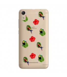 Coque Lenny 4 perroquet multi tropical fleur transparente